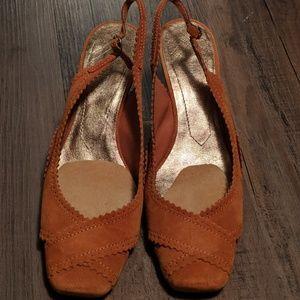 Nine West Burnt Orange Slingback Wedge Heel